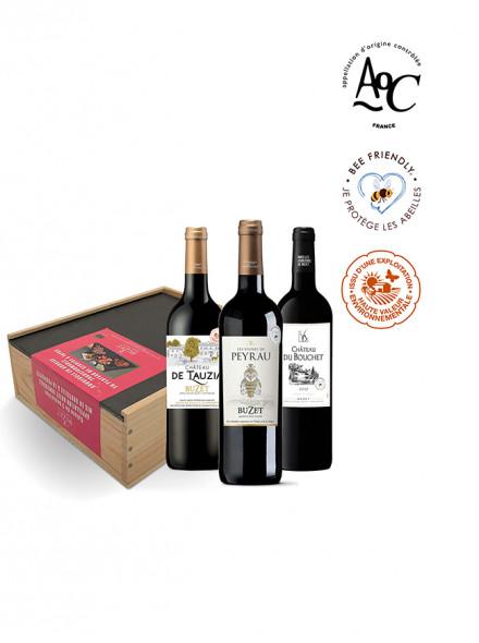 Le coffret vin bois & ardoise à tapas 3 vins rouges AOC Buzet 75cl