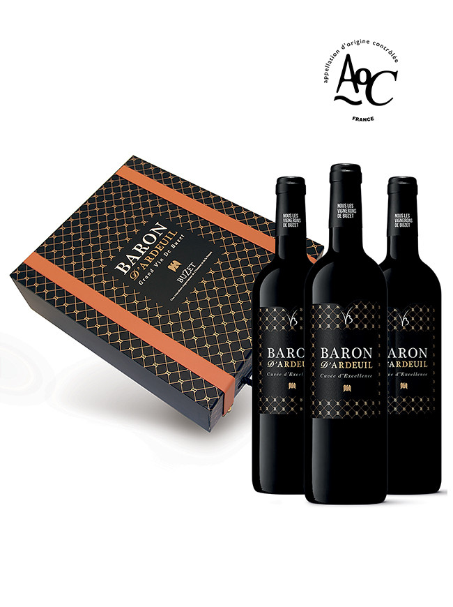 Coffret cadeau vin 3 bouteilles Baron d'Ardeuil rouge 2015