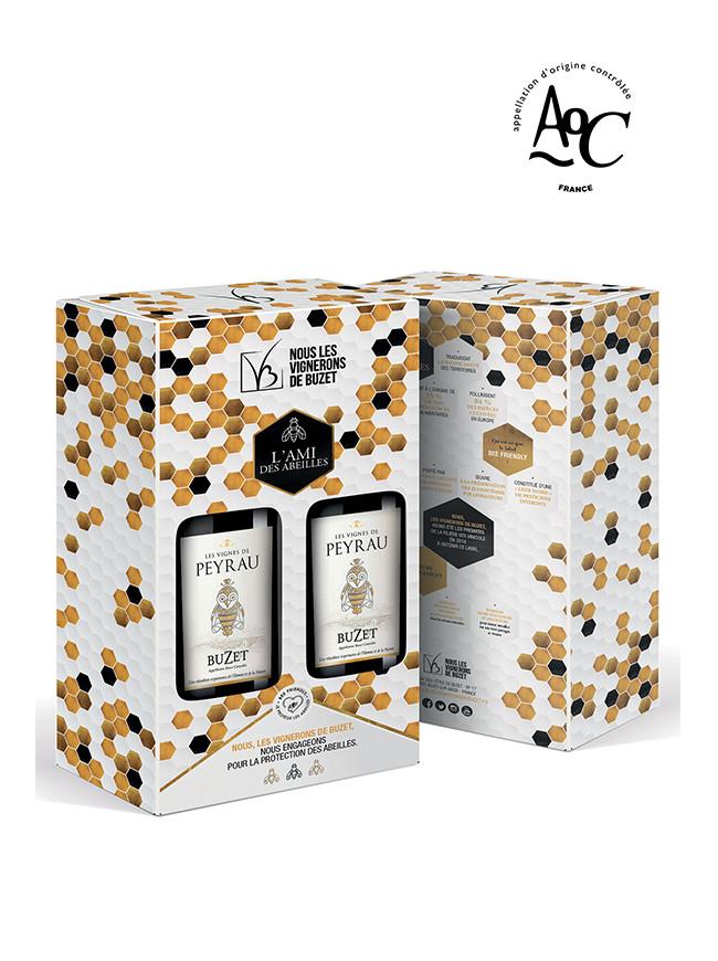 Coffret duo Vin Rouge Bee Friendly –2 bouteilles 75cl AOC