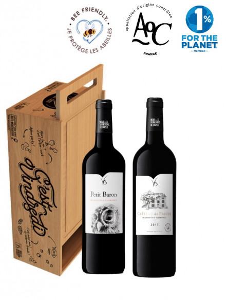 Coffret cadeau bois transformable en planche à découper deux bouteilles de vin rouge 75cl
